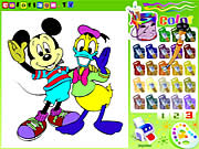 Coloreaza pe Mickey si Donald